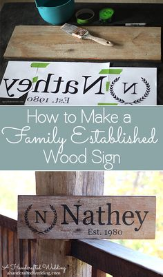 How to Make a Family Established Sign, a super easy DIY wood sign that you can make for yourself or give as wedding gifts. {ahandcraftedwedding.com}