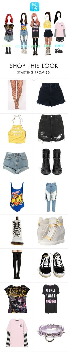 """""""TOXIC GIRLS - V LIVE"""" by dark-unicorn-980 ❤ liked on Polyvore featuring Nobody Denim, Hollister Co., Topshop, Levi's, Ash, Moschino, Boohoo, Dr. Martens, Giuseppe Zanotti and Vans"""