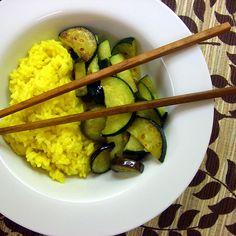 Zucchini Eggplant stir fry with saffron rice - Joyful Abode