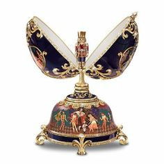 The Russian Nutcracker Collectible Musical Egg by Ardleigh Elliott by Ardleigh Elliott. $49.98. This extraordinary Peter Carl Faberge-style musical egg is hinged and opens to reveal an enameled pewter sculpture of the Nutcracker Prince. We offer generous guarantees on everything we sell - up to 365 days on select items! If you need to make a return, you'll receive 100% of everything you paid.. The egg and base of this dramatic collectible egg-shaped music box are expertly handcr...