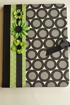 Decorate boring composition notebooks with cute scrapbook paper