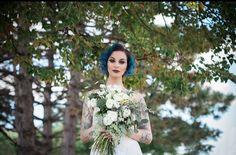 Tattooed bride. Blue hair.