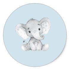 Elephant Jungle Animals Baby Shower Favor Sticker Zazzle