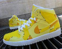 """Air Jordan 1 """"Banana Milkshake"""" Custom Sneakers                                                                                    Ⓙ_⍣∙₩ѧŁҝ!₦ǥ∙⍣"""
