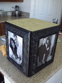 DIY card box. GREAT idea with the picture frames! ~ could make and use to collect more memories/pictures from the guests.