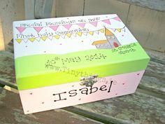 Personalised Communion Memory Box (girls) www. Communion, Holi, Toy Chest, Memories, Girls, Decor, Memoirs, Souvenirs, Decoration
