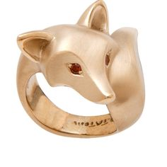 14 k GOLD fox ring  with RUBY eyes or choose from  by Michaeltatom, $1500.00