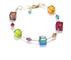 Murano Glass Colorful Cube Gold Bracelet Venetian by JKCJewels, $44.00