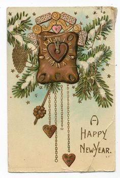 Antique Clock^Hearts^Pinecone^Early 1900s Vintage New Years Postcard