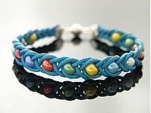 Náramky - Modrý kožený náramok s farebnými korálkami - 2628906