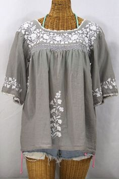"""""""La Marina"""" Embroidered Mexican Style Peasant Top in Grey with White Embroidery by Siren, $52.95"""