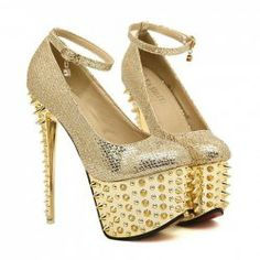$19.56 Party and Wedding Women's Pumps With Sexy Gold High Heels and Rivets Design