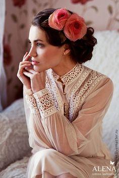 ЦВЕТЫ ИЗ ТКАНИ - Розы персиковые - коралловый,роза брошь,розы из ткани