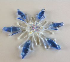 Fused Glass Christmas Ornament (Light Blue and Clear Snowflake)