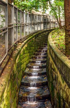 Urban Waterfall - Water ducting through parts of Hong Kong can turn into a peaceful touch of nature.