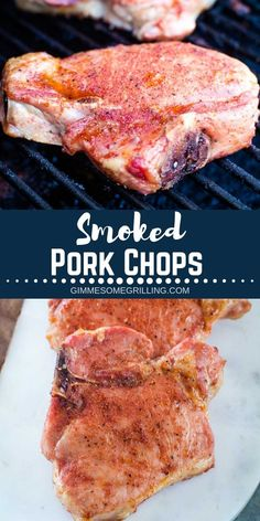 Smoked Pork Chops These easy Smoked Pork Chops are packed with flavor from a homemade seasoning and have tons of smoked flavor. Fire up and make these on your Traeger pellet grill today. They are easy enough for the beginner smoker, but s Traeger Recipes, Smoked Meat Recipes, Pork Chop Recipes, Smoker Grill Recipes, Smoker Cooking, Cooking Pork, Grilling Recipes, Smoked Pork Chops, Traeger Pork Chops