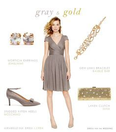 grey dress gold accessories - Google Search