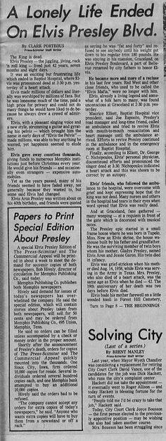 Elvis Dead at Graceland Memphis Press Scimitar