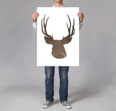 LARGE wall ART Deer Stag art print wild animal illustration stag gift for hunters minimal deer on thick white paper hunter cabin decor by DrawingIllustration