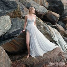 Paolo Sebastian - Sirens of the Sea Bridal Collection  - Powder Blue Sweetheart Neck Tulle Beaded Wedding Dress