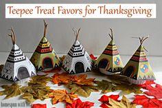 Kids Thanksgiving Table Teepee Treat Favors