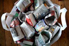 Lag krukker av avispapir! Dette er den beste oppskriften: stødige krukker som ikke går opp i bretten. Fine og enkle å brette! Slik lager du dem: