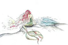 Watercolor Painting - The Mermaid With Red Hair by Katrina Ryan Art The original is 15x17 and limited prints are available through the link.