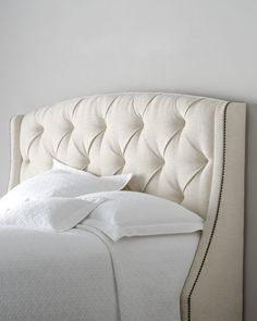 Bernhardt Rami Wing Tufted Headboard - Horchow - for some reason I've always wanted a fabric headboard Upholstered Furniture, Tufted Headboard, Headboard, Home Bedroom, Fabric Headboard, Furniture, Bernhardt Furniture, Home Furnishings, Bedroom Furniture