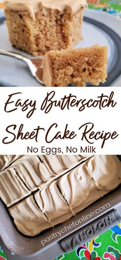 This easy butterscotch sheet cake is a fantastic snack cake. Easy to make and stays moist in the frdge for days. Bonus: it uses no eggs or milk. Sheet Cake Recipes, Easy Cake Recipes, Sweet Recipes, Sheet Cakes, Cupcake Recipes, Vegan Recipes, Strawberry Desserts, Köstliche Desserts, Dessert Recipes