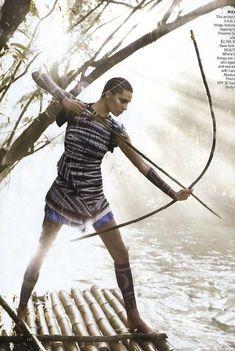 Daria Werbowy Takes on Nature in 'The Warrior Way' #tattoos