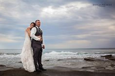 Beach Wedding / Wedding photography / Beach rocks / Stormy day / Wedding /
