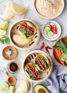 Steamed bao buns are SO delicious and fun to make! The ultimate date night cooking project, they're soft and puffy, with a flavorful tempeh and veggie filling. You won't be able to get enough! | Love and Lemons #bao #asianrecipes #vegan #appetizers Steamed Bao Buns, Date Night Recipes, Duck Sauce, Asian Recipes, Ethnic Recipes, Baked Tofu, Pasta Maker, Bun Recipe, Fotografia