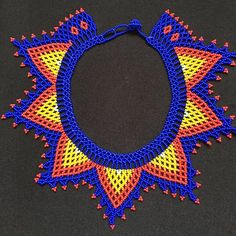 Medium Okama Dark Blue Handmade Indigenous Rainbow Beaded Beaded Jewelry Patterns, Beading Patterns, Beaded Choker, Beaded Earrings, Beaded Cape, Beaded Crafts, Native American Beadwork, Beading Projects, Handmade Beads