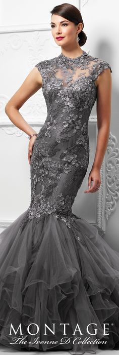 Formal Evening Gowns by Mon Cheri - Spring 2017 - Style No. 117D63 - pewter tulle mermaid evening dress with hand-beaded lace dropped waist bodice and ruffled skirt