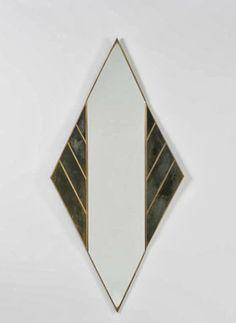 Lorenzo Burchiellaro; Zinc and Bronze 'Losanga' Wall Mirror, 1988.