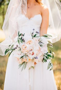 Natural Wedding Bouquets: Blush Garden Roses and Olive Branch | Brides.com