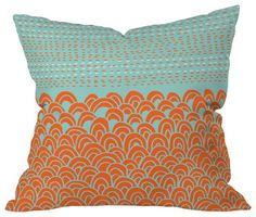 Budi Kwan The Infinite Tidal Light Blue Outdoor Throw Pillow, 16 x 16 x 4 - beach-style - Outdoor Pillows - DENY Designs