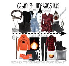 """Cabin 9: Hephaestus"" by aquatic-angel on Polyvore featuring DKNY, LE3NO, UGG Australia, Maison de Vacances, Cosabella, NIKE, Converse, Insignia Collection, DB Designs and Garrard"