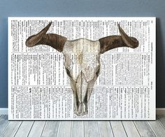 Gorgeous Anatomy print for your home and office. Amazing Bull skull poster. Adorable Dictionary decor. Pretty contemporary Watercolor print.