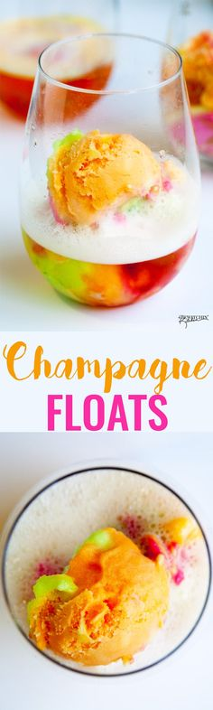 Floats Champagne floats - this boozy dessert is a hit a for summer bbqs, brunches and New Years Eve parties. Sparkling wine and sherbert makes a delicious combination in this adult float. Party Drinks, Cocktail Drinks, Fun Drinks, Yummy Drinks, Cocktail Recipes, Alcoholic Drinks, Beverages, Party Desserts, Drinks Alcohol