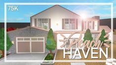 Welcome to Bloxburg: Peach Haven Huge Mansions, Two Story House Design, Modern Family House, House Plans With Pictures, Cute House, House Blueprints, Pink Houses, New House Plans, Aesthetic Bedroom