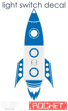 FREE POSTAGE AUSTRALIA_We have lift off!!! Rocket Light Switch Decal. Perfect gift for the kids. Removable Vinyl Wall Decal.