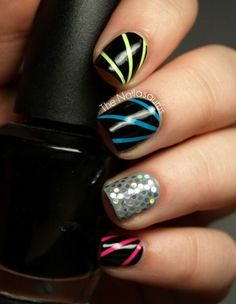neon stripes on nails cute party nails