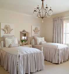 twin bed guest room. Still love these bedspreads...reminds me of Mimi's!
