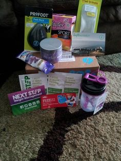 Just recieved my #govoxbox complimenatry from @Influenster #influenster This box was filled with great goods.from: @playtex_sport #playon @The Vitamin Shoppe #nextstep @Blue Diamond Almonds #getyourgoodgoing @profoot_inc #goprofoot @Aqua Spa Bath and Body Products #relaxwithaquaspa and @Müller Yogurt #mullerquaker