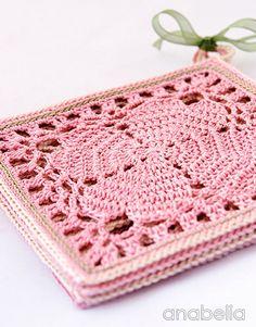 코바늘 사각플라워 티코스터 / Japanese square crochet coasters, free pattern by Anabelia 한송이 꽃 ...
