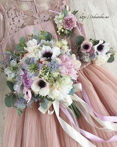 """weddingブーケ&花冠*tekuteku on Instagram: """"花嫁さまへオーダーメイドさせて頂いたブーケ、髪飾り、コサージュ(ブートニア)です。髪飾りはクラシカルな雰囲気をイメージしてお作りしました。 こちらに使用した ほんのりピンク色&パープル色の アネモネは 優しく甘い雰囲気&特別感があり とてもオススメです。…"""" Wedding Bouquets, Wedding Flowers, Romantic Flowers, A Day To Remember, Wedding Beauty, Formal Wedding, Flower Crown, Marie, Floral Wreath"""