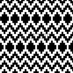 Ethnic geometric abstract seamless pattern in black and white, vector