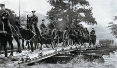 British troops crossing a pontoon bridge in 1914 Marne Battle