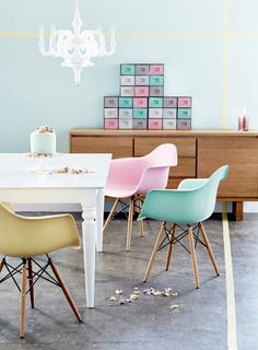 mint & pink pastel eames-inspired chairs from @home :: the homeware store